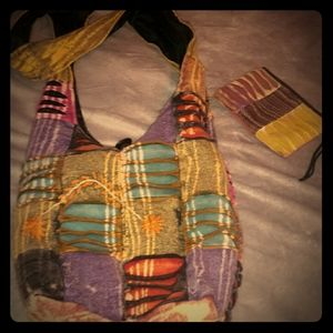 Bright multi-colored boho bag with matching wristl